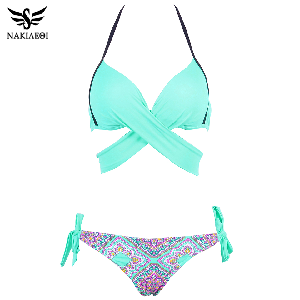 NAKIAEOI 19 Sexy Bikini Women Swimsuit Push Up Swimwear Criss Cross Bandage Halter Bikini Set Beach Bathing Suit Swim Wear XXL 19