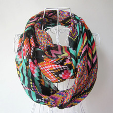 2015 New Chevron Geometry silk Polyester Scarf Women ZigZag Pattern Polyester Snood 6colors 10pcs/Lot(China)