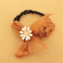 2017 HOT  Brand New Elastic Hair Bands Daisy Flower Headband Accessories Plastic Bow Ring Fast Bun For Women Girls