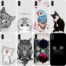 Cat Phone Case For iPhone X 8 4 4S 5 5S SE 5C 6 6S 7 Plus Silicon For Xiaomi Redmi 4 4A 3S 3 S Note 3 4 5A Pro Prime 4X Mi A1 5X(China)