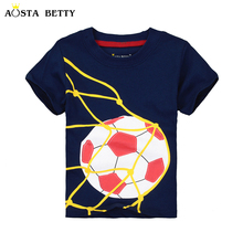 AOSTA BETTY Brand Boy Short Sleeve T-shirt Baby Summer Tshirts Children Clothes Football Pattern Full Cotton T shirt For 18M-6T