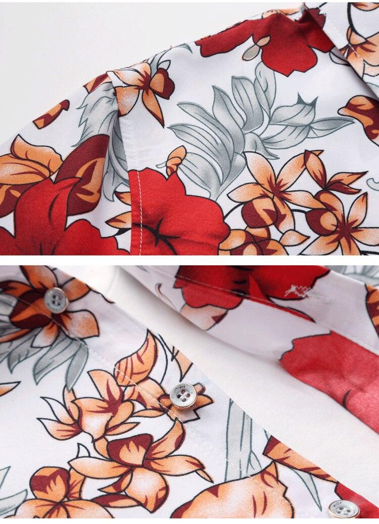 2018 Short Sleeve Mens Hawaiian Shirt Male Casual Camisa Masculina Flower Print Beach Summer Shirts Brand Clothing Men Plue Size 26