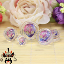 hot transparent acrylic skull logo ear plugs and tunnels piercing gauges sell by pair 10-25mm(China)