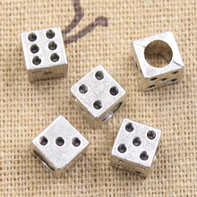 8pcs 7x7x7mm Casino Lucky dice 4.5mm big hole bead charm fits antique silver charm bracelets Wholesale(China)
