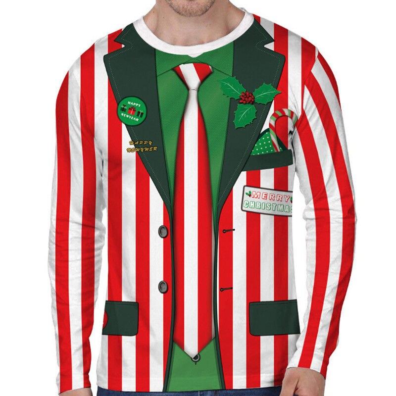 Men\u0027s Christmas 3D Printing Long Sleeve Casual T,Shirt Tops