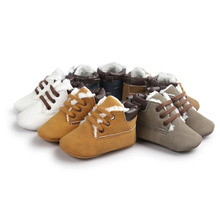 2017 Autumn Winter Khaki Lace Up Baby Boots Warm Baby Boys Cotton Shoes Fleece Leisure Toddler Shoes Soft Indoor Footcovers(China)