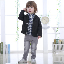 2017 New Design boys beautiful jeans wear clothes kids suits children jacket + plaid shirt + denim pants 3pcs Clothing Set F58