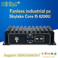 Minisys Factory industrial computer skylake core i5 6200u dual lan ubuntu barebone mini fanless embedded pc with 6 RS232 COM SIM