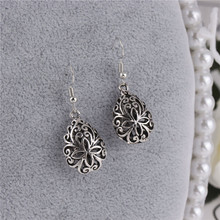 Metal Embroidery Flower Design Waterdrop Drop Earrings Antique Tibetan Silver Dangle Earrings Vintage Women Jewelry 2018 New(China)