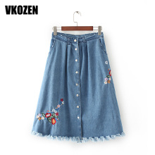 Stylish Floral Embrodiery Burr Hem Denim Skirt Women Single Single-breasted Big Hem Skirts  YN-4653