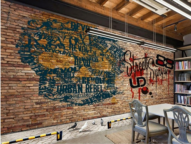 Wallpaper Trendy Retro Brick Wall Skeleton Bar Background Decorative Photo Murals Custom