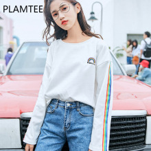 PLAMTEE Harajuku Cotton Women T Shirt Cute Rainbow Tee Tops College Ropa Mujer Casual Basic Tee Shirt Femme Wild Preppy Camiseta