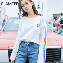 PLAMTEE Harajuku Cotton Women T Shirt Cute Rainbow Tee Tops College Ropa Mujer Casual Basic Tee Shirt Femme Wild Preppy Camiseta(China)