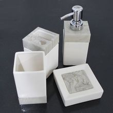 Ceramic Bathroom Set Accessories Bath Kit 4PCS/Set Simple White Color Toothpaste Holder Dispenser