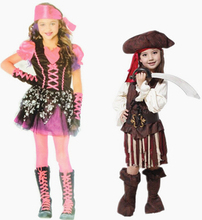 2016 new arrival fashion design halloween costume pirate cosplay dress+ hat for kids Costumes Captain Clothing Princess skirt