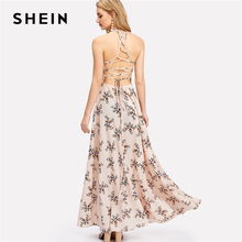 Buy SHEIN Lace Racerback Calico Dress Backless Line Halter Sexy Maxi Dress 2018 Women Summer Pink Sleeveless Floral Party Dress