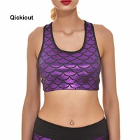 65908fef9bdaf Qickitout Bra 2016 Hot Selling Mermaid Scales Women s Padded Top Vest  Fitness New Bra Stretch Seamless