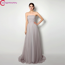 Bridesmaid Dresses Cheap Long Simple Pleats Chiffon A-Line Formal Dress For Wedding Party gown In Stock Gray