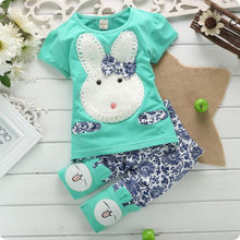 2015 New Hot Sale 2PC New Baby Kids Top Short Pants Set Clothes Cute Rabbit Girls Clothes Pink Green Size1-4 Years(China)