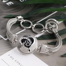 Partnerbeads New Enamel Causal Love Dog Bracelets For Women 18mm Snap Button Charm Bracelet Metal Alloy Wife Gift Jewelry KC6476(China)