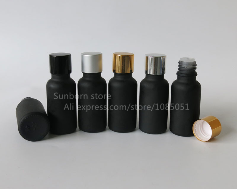 Pcs Lot Ml Matte Black Glass Essential Oil Cosmetic Packaging Bottle In Cotton Swabs From
