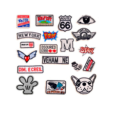Cool Patches NEW YORK POW STAR Dog Wing heart Patches Iron On Or Sew Fabric Sticker For Clothes Badge Embroidered Appliques DIY