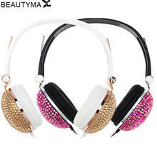 Crystal Headphones for girl diamond Anti-noise for Music Earphones for iphone 6s PC headset For samsung s8 for huawei p9 lite(China)