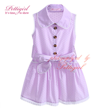 Pettigirl Girl Summer 3-5Y Sleeveless Dresses Lapel Collar Pin Dot With Bow Sash Lavender Birthday Dress Kids Clothing