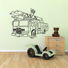 Fire Engines Wall Sticker For Kids Room Boys Living Room Children Bedroom Vinyl Sticker Wall Decal Decor Wall Art Mural S-135