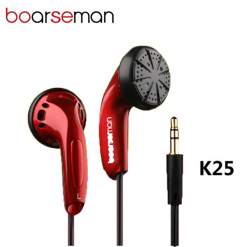 Original Boarseman K25 In-ear Earphone Noise Cancelling Hifi EarBuds 3.5mm DIY Auriculares Flat Head Earphone for phones PC MP3(China)
