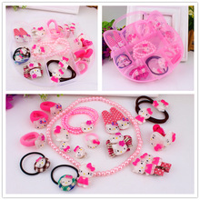 New Fashion Children Headwear Korean Hello Kitty Hair Clips Gum Elastic Band Hair Accessories Barrettes Scrunchies For Cute Baby(China)