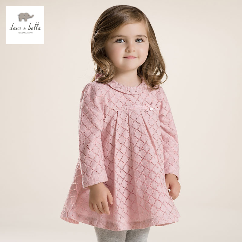 DB2775 dave bella  autumn  girl princess dress baby clothes infant clothes girls lace dress toddle dress<br>