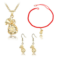 Womens Necklace Bracelets Drop Dangle Earrings Jewelry Sets with Design Purse Bag Shape Pierced Austrian Crystal Pendant Charms