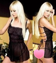 Transparent Sheer Lingerie Ladies Backless Black Apron Sexy Lady Cool Babydoll Mini Dress Underwear Lace Lingerie