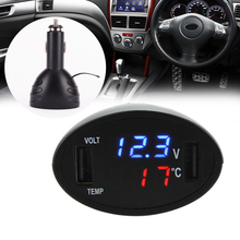 3 in 1 12V Dual USB Car Phone Charger Thermometer Voltmeter Display Car USB Port Charger Volt meter LED Display Black(China)