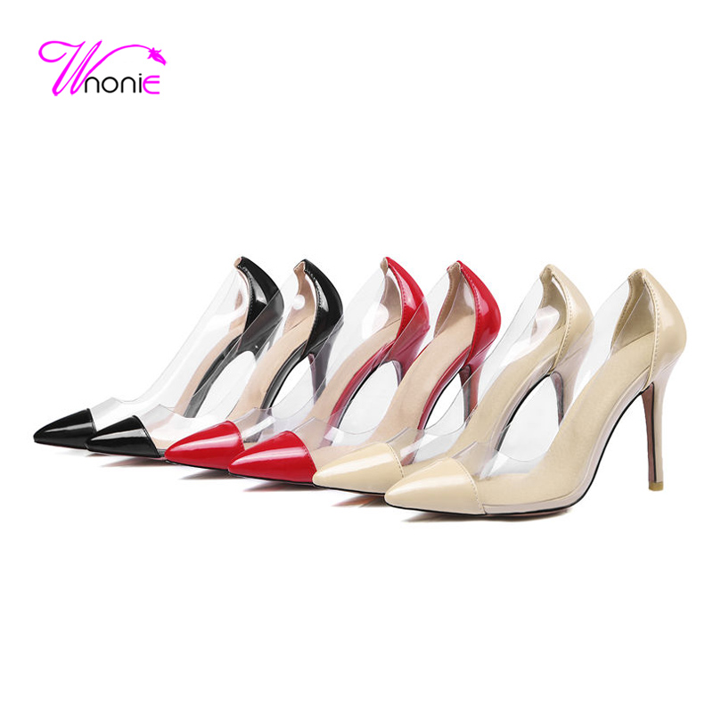 2017 Fashion Women Basic Pumps High Thin Heels Pointed Toe Patent Leather Jelly Plastic Spring Autumn Party Dress Ladies Shoes<br><br>Aliexpress