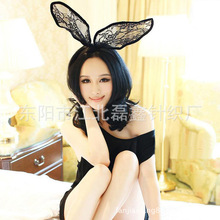 Rabbit Ear Lace Hairbands Florals Women Fashion Headbands Spandex White / Black Adult Headwear For Sex Game Animation Role Play(China)