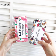 Wixcen Summer Pink Peach Phone Case Anti-knock Cute Flower Letter Tpu Silicone Case for Iphone 7 7plus 6/6s 6plus Case Cover