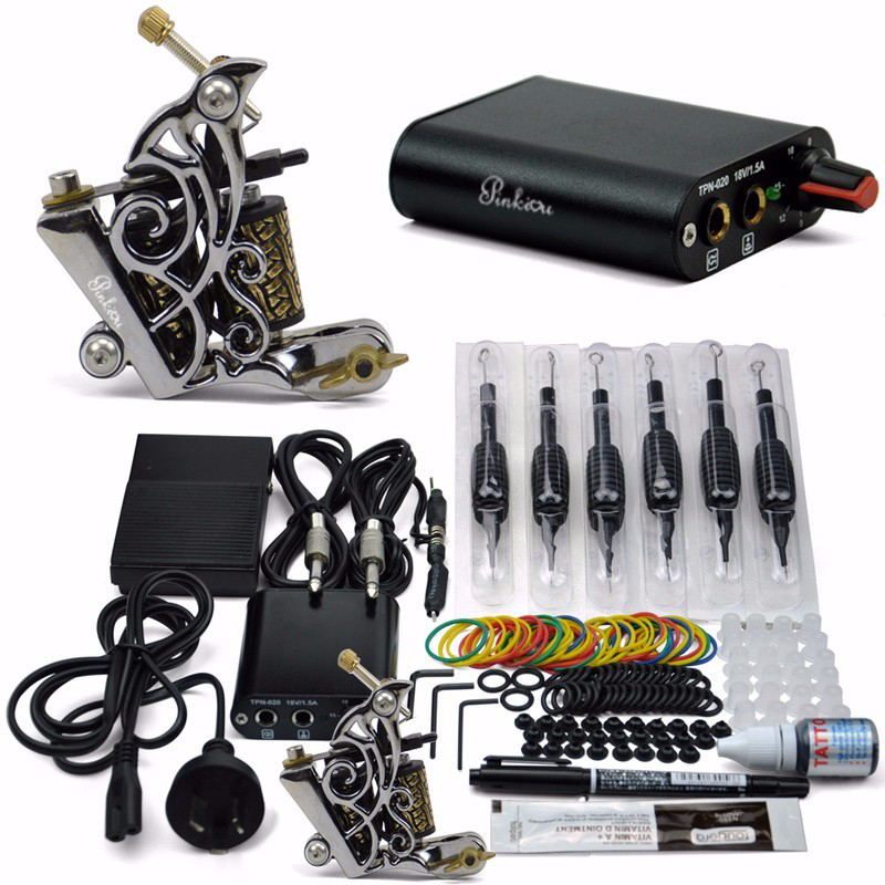 Professional Tattoo Kit 1 Tattoo Guns  8 wrap coils Pigment Induction Complete Tattoo Machine set for Beginner Body Art<br>