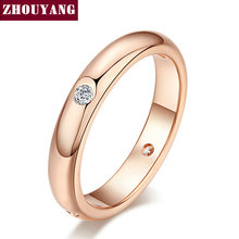 Top Quality Simple Cubic Zirconia Lovers Ring Rose Gold Color Jewelry Austrian Crystals Full Sizes Wholesale ZYR241 ZYR242(China)