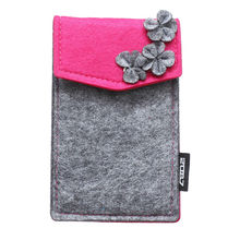 2087 Fashion Women Purse Cellphone Bag Wallet Mobile Phone Cover Cases for iPhone 4 4s 5 5s Flower Decor Design Gray and Rose