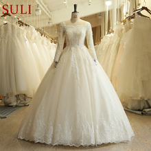 SL-519 Ivory French Lace Ball Gown Bridal Gowns Vintage Boho long Sleeve Wedding Dress 2018(China)