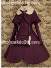 Top Sale  Purple Wool Warm Winter Sweet Lolita Coat Winter Long Coats All Size For Sale