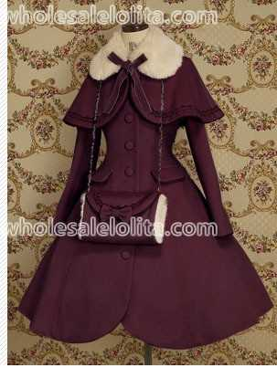 Top Sale Purple Wool Warm Winter Sweet Lolita Coat Winter Long Coats All Size For Sale(China)