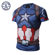 2017 Summer Men Compression Shirt 3D Marvel Superhero Punisher Captain America Superman T Shirt Fitness Tights Base Layer Shirts