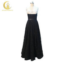 Rhine Real Sample Image Elie Saab Two Straps Sliver Flowers and Beads Black Lace Floor Length Formal Party Evening Dress(China)