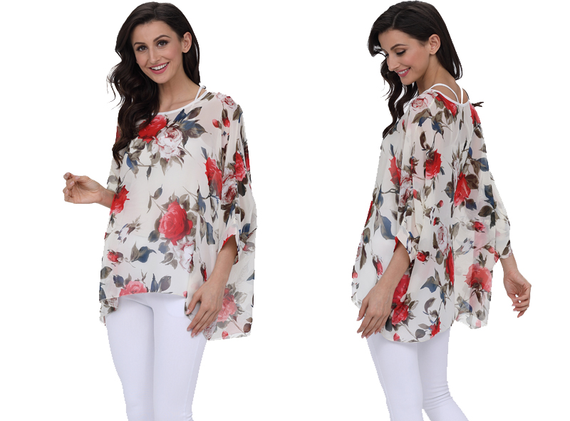 BHflutter 18 Women Tops and Blouses Plus Size Floral Print Casual Chiffon Blouse Boho Style Batwing Sleeve Summer Shirt Blusas 10
