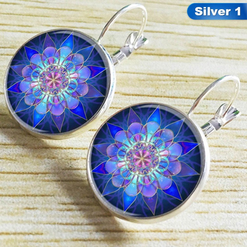 Mandala Round Jewelry Mandala Time Zircon Earrings 1 Pair