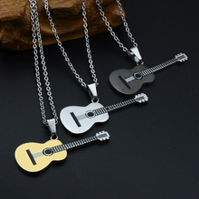 MCSAYS Punk Jewelry Stainless Steel Music Guitar Iced Out Pendant Box Chain Music Necklace Biker Jewelry Gift for Singer MJ(China)
