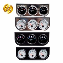 52mm Car Guage Voltage / Water Temperature / Oil Press Black / Chrome Bezel + White / Black Dial Face 3-In-1 Kit Triple Meter